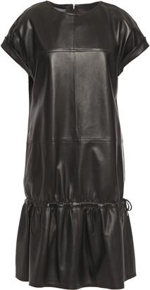 Alberta Ferretti Gathered Leather Mini Dress