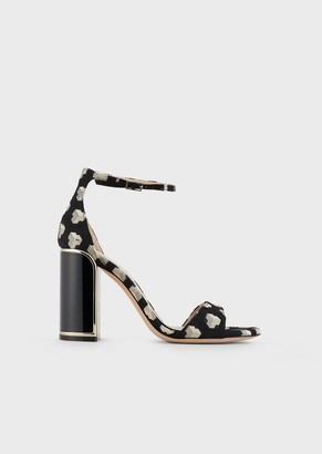 Giorgio Armani Jacquard Fabric Sandals With A Lacquered Art Deco Heel