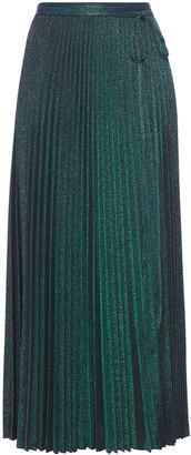 M Missoni Pleated Metallic Stretch-knit Midi Skirt