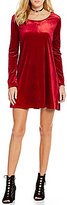 Copper Key Long-Sleeve Velvet Swing Dress