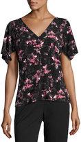 T Tahari Sharee Floral-Print Knit Top, Black Pattern