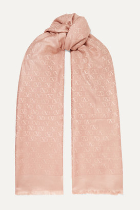 Valentino Silk And Wool-blend Jacquard Scarf
