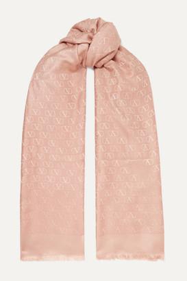 Valentino Garavani Silk And Wool-blend Jacquard Scarf - Pastel pink