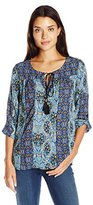 Notations Women's 3/4 Sleeve Twin Print Peasant Blouse