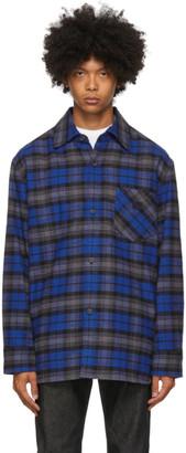 Acne Studios Blue Flannel Patch Shirt