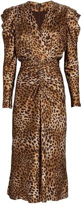 Jonathan Simkhai Maisie Leopard Print Midi Dress