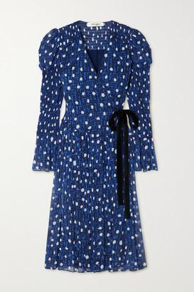 Diane von Furstenberg Ani Velvet-trimmed Printed Chiffon Wrap Dress - Navy