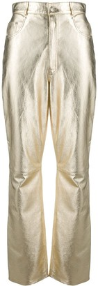 Manokhi Metallic Leather Trousers