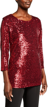 Caroline Rose Sequined 3/4-Sleeve Tunic