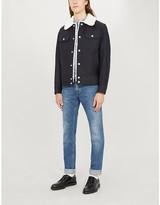 Sandro Shearling boxy-fit cotton-twill jacket