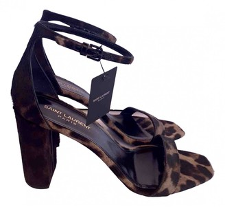 Saint Laurent Black Pony-style calfskin Sandals