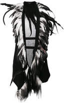 Ann Demeulemeester feather trimmed gilet