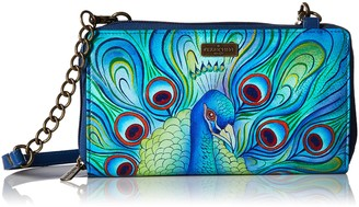 Anuschka Hand Painted Leather Women's Zip Around RFID Crossbody Clutch - Jeweled Plume