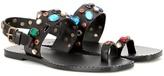 Tomas Maier Crystal-embellished Leather Sandals