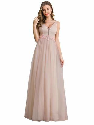 Ever Pretty Ever-Pretty Women's Deep V Neck Empire Waist with Floral Appliques A Line Elegant Long Tulle Evening Dresses Blush Pink 10UK
