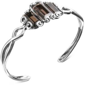 Carolyn Pollack Smoky Quartz Cuff Bracelet (13-1/5 ct. t.w.) in Sterling Silver
