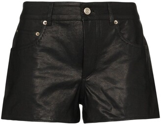 Golden Goose Mid-Rise Leather Shorts