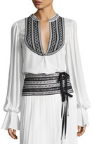 Oscar de la Renta Embroidered Long-Sleeve Wrap Blouse, White/Black