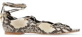 Sandro Lace-Up Snake-Effect Leather Sandals