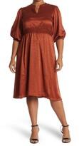 Thumbnail for your product : Sandra Darren Smocked Waist Animal Print Midi Dress
