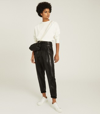 Reiss ABBY HIGH WAISTED SHIMMER TROUSERS Black
