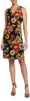 Carolina Herrera Floral Jacquard V-Neck Shift Dress