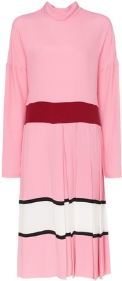 Marni Contrast Waist Pleated Skirt Midi Dress