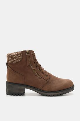 Ardene Faux Suede Combat Booties - Shoes |