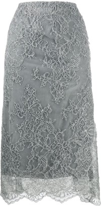 Ermanno Scervino Scalloped Lace Pencil Skirt