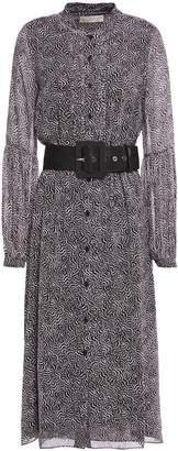 MICHAEL Michael Kors Belted Pleated Printed Crepe De Chine Midi Dress