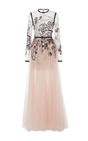 Elie Saab Long Sleeve Embroidered Gown