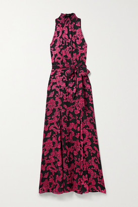 Alice + Olivia Alice Olivia - Dita Devore-chiffon Maxi Dress - Black