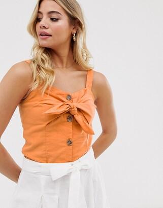 Pimkie tie front cami in orange