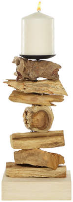 Uma Enterprises Uma Large Recycled Natural Tree Root Wooden Pillar Candle Holder With Spike