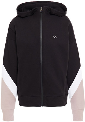Calvin Klein Color-block Printed French Cotton-terry Hoodie