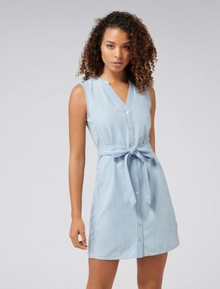 Ever New Aja Sleeveless Denim Shirt Dress