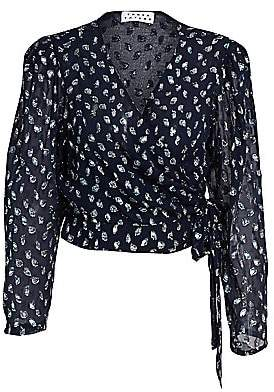 Tanya Taylor Women's Erica Metallic Leopard Stretch Silk Chiffon Wrap Blouse
