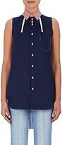 Shiro Sakai Women's Mixed-Fabric Sleeveless Shirt