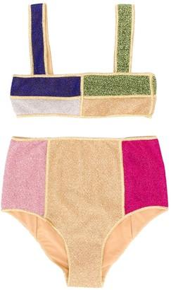 Oseree Kids geometric-panel bikini