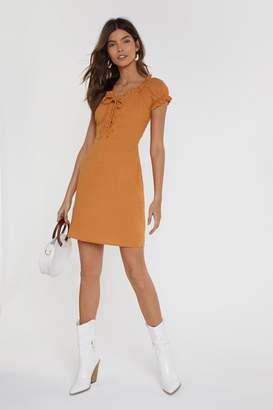Nasty Gal Womens Tongue-Tied Lace-Up Mini Dress - Orange - 10, Orange