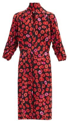 Marni Kiss Tornado Tie-neck Lip-print Crepe Dress - Black Print