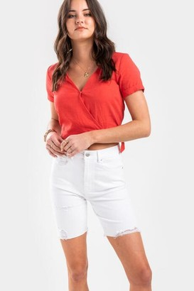 francesca's Nora Distressed Bermuda Denim Shorts - White