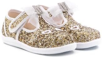 MonnaLisa Rabbit Glitter Detail Ballerinas