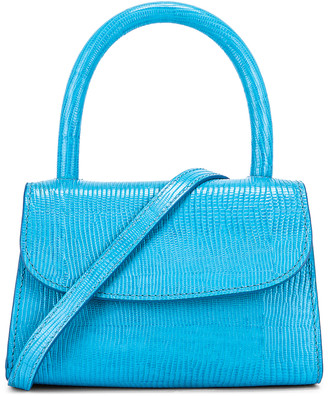BY FAR Mini Lizard Embossed Bag in Electric Blue   FWRD