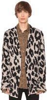 Amiri Leopard Jacquard Wool Blend Cardigan