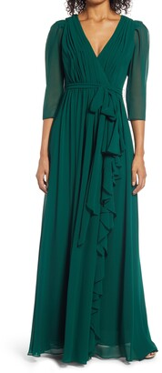 Badgley Mischka Ruched Sleeve Georgette Gown