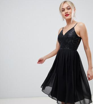 Chi Chi London cami strap embellished midi dress in black