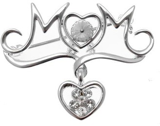 Acosta Jewellery Acosta Brooches - Silver Coloured Crystal Heart Mum Brooch - Jewellery Gift