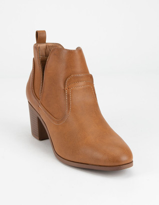 Qupid Chop Out Cognac Womens Booties