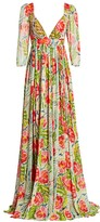 Badgley Mischka Puff-Sleeve Floral Printed Gown